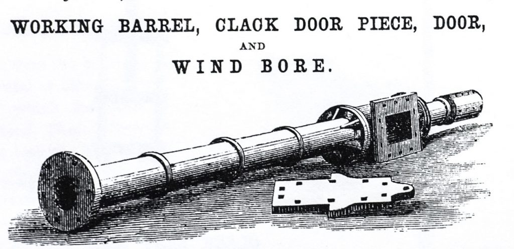 Black and white drawing from the Perran Foundry catalogue, showing a length of pump piping.