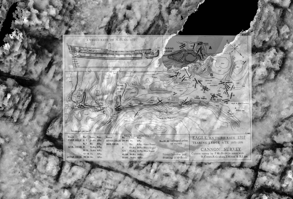 Tearing Ledge multibeam data shown in greyscale with the 1976 site plan superimposed with slight transparency