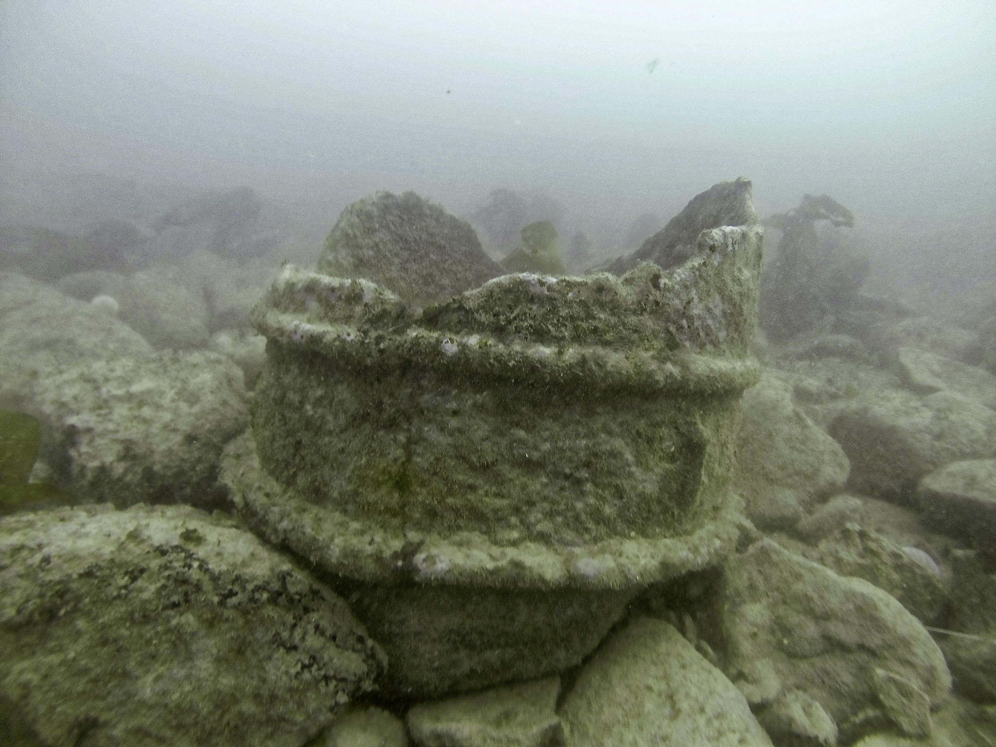 Photo of one of the cylinder fragments underwater. Two ribs can be observed around its circumference and the top is jagged. The object is covered in a furry growth of algae.