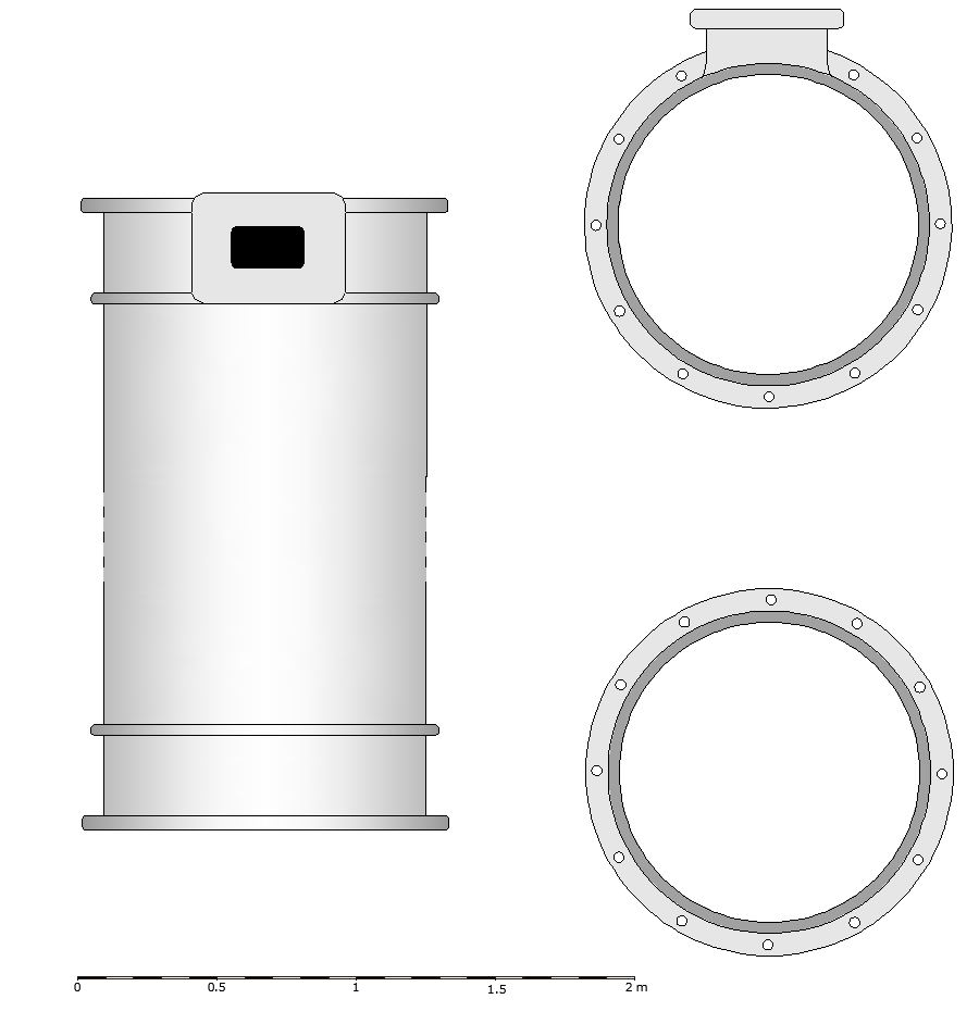 A greyscale reconstruction drawing of how the cylinder may have appeared. The image is divided into two columns. The left column shows the side view of the cylinder standing upright as it may have appeared. The right column is split horizontally. On the top is a view of the cylinder from the top, essentially circular but with a rectangular protrusion. The lower half of this column shows the plan view from underneath - a circular shape with regular holes showing where rivets would have been positioned.