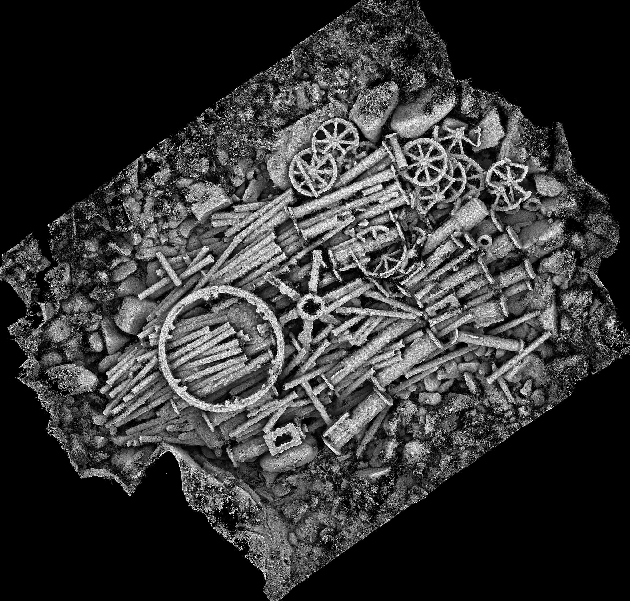 Greyscale representation of the cargo mound. This image was created from the 3D model, and uses shadows to enhance the shape of each component.