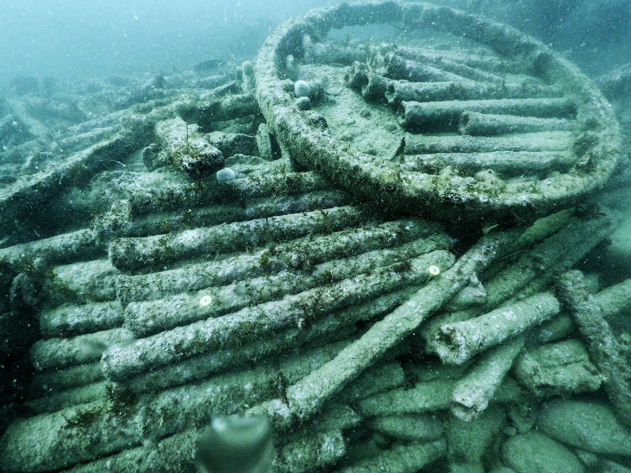 A pile of pipes underwater, with the large wheel rim sitting on top.