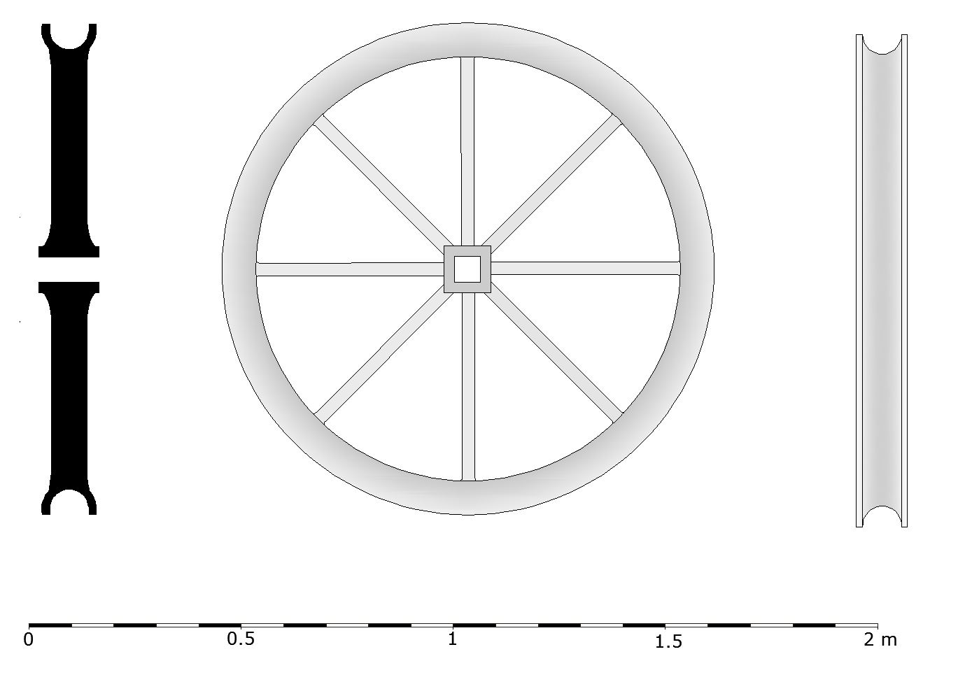 Reconstruction drawing of a sheave wheel