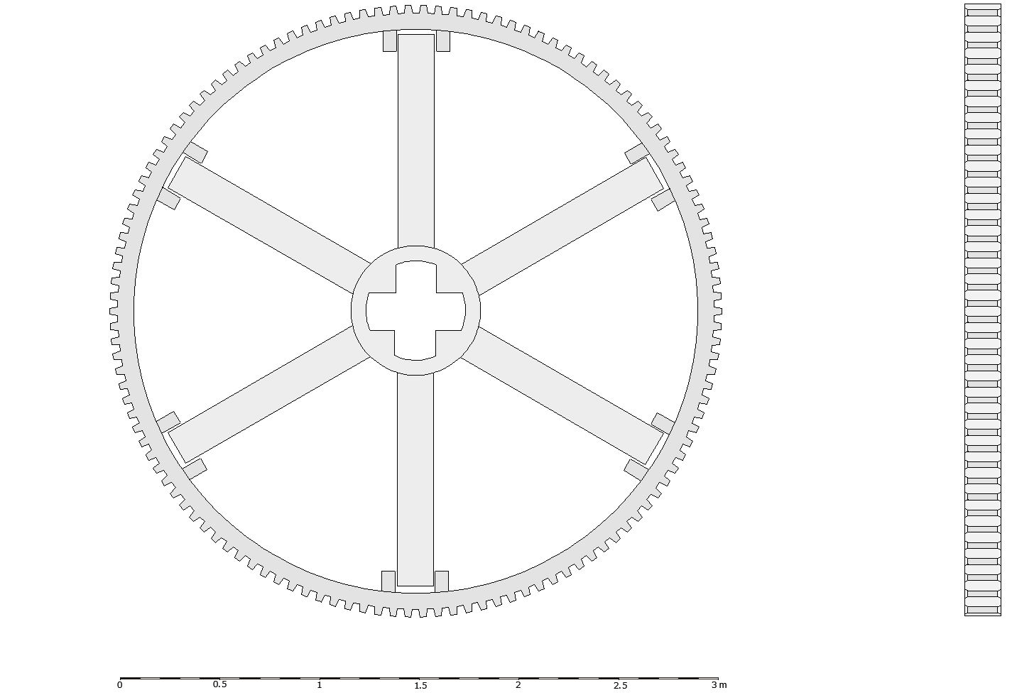 Monochrome reconstruction drawing of the flywheel. The image is divided into two parts. On the left shows the flywheel from the side, a large circle with stepped cog teeth. Inside, radiating from a cross-shaped central hub, are six spokes fitting into rectangular slots in the outer wheel rim. To the right of this is the wheel viewed from the front, a thin drawing showing the teeth and estimated thickness of the wheel. This demonstrates how this was part of a gear mechanism.
