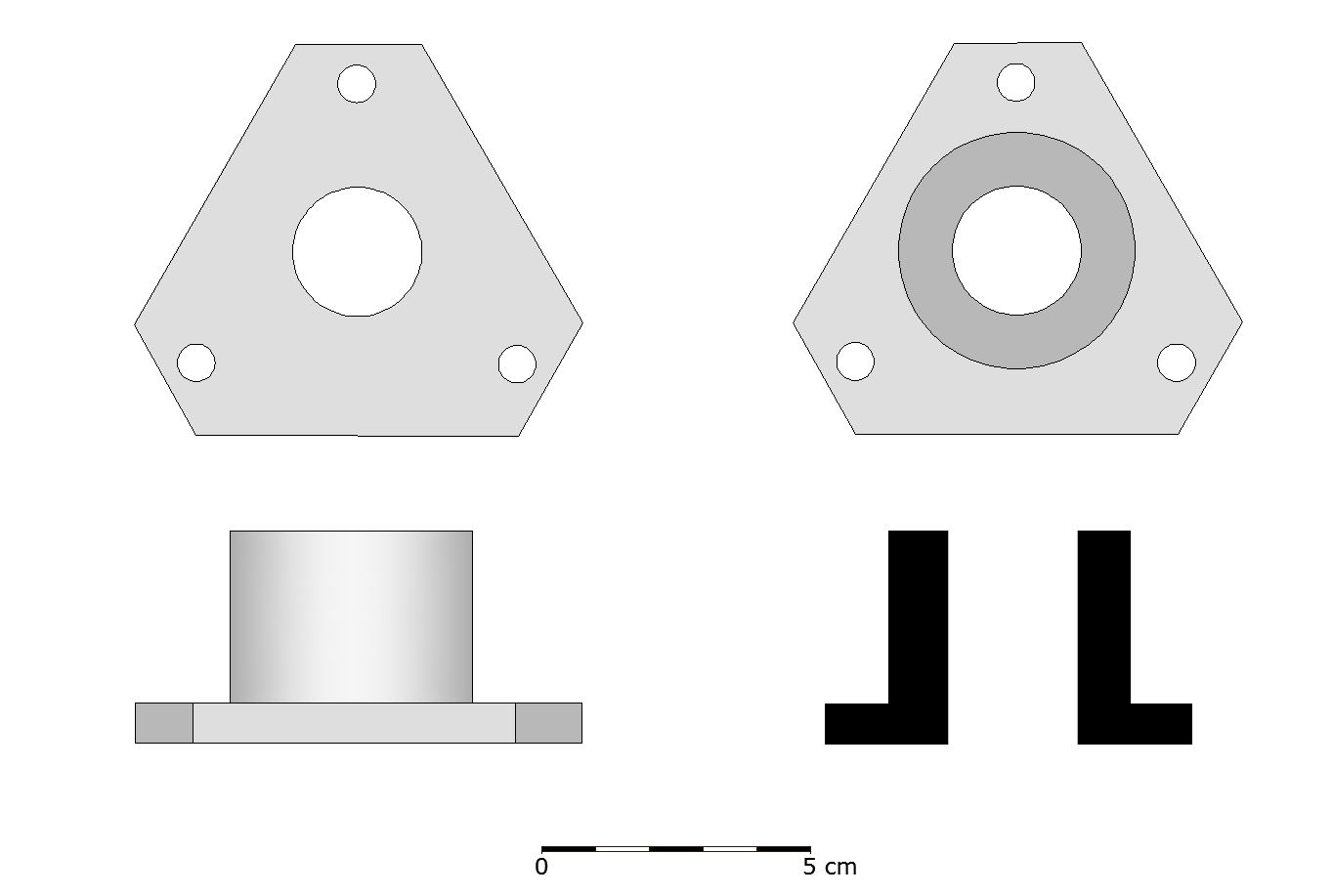 Reconstruction drawing of one of the copper alloy coaks (F22). Coaks formed a hard wearing bearing around the pivot hole of the sheave.